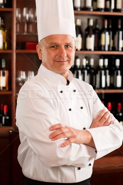 ストックフォト: シェフ · 調理 · プロ · ポーズ · レストラン · クロス