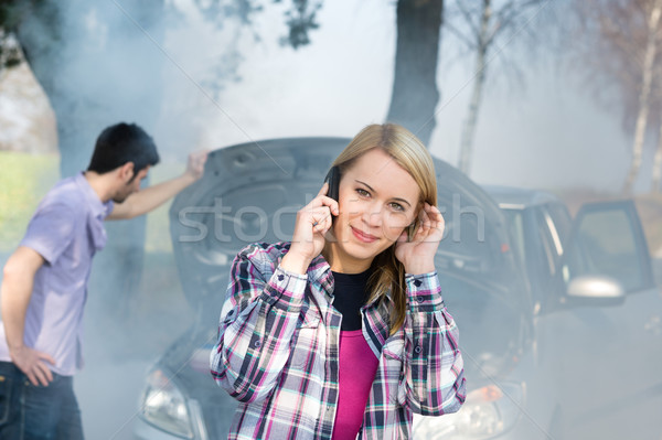Car breakdown woman call for help Stock photo © CandyboxPhoto