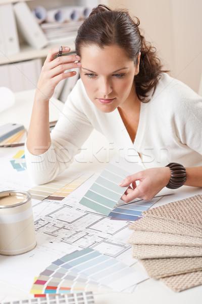Fiatal női belsőépítész dolgozik iroda szín Stock fotó © CandyboxPhoto