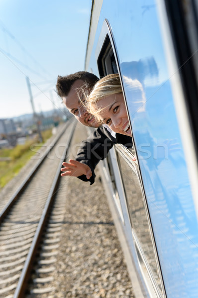 Woman man heads out the train window Stock photo © CandyboxPhoto