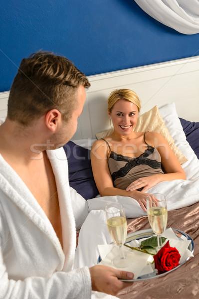 Husband flirting wife bedroom romantic evening celebration Stock photo © CandyboxPhoto