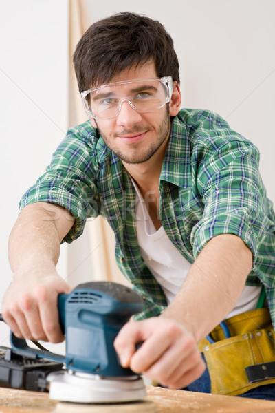 Lakásfelújítás ezermester fapadló műhely asztal belső Stock fotó © CandyboxPhoto