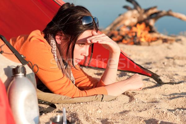 Kamp mutlu kadın dinlenmek çadır kamp ateşi Stok fotoğraf © CandyboxPhoto
