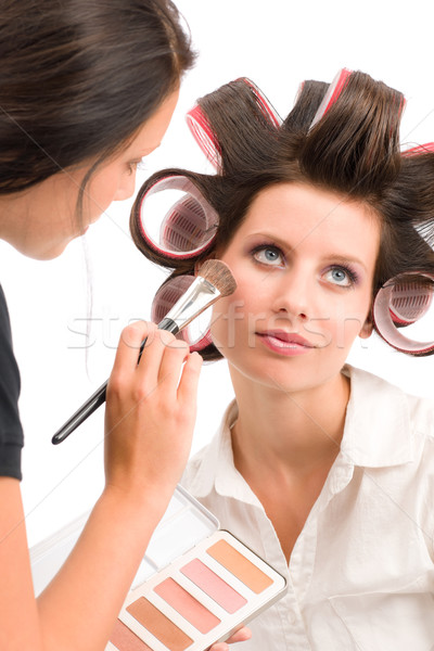 Make-up artist woman fashion model apply powder Stock photo © CandyboxPhoto