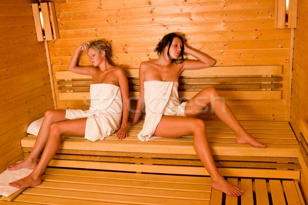 Sauna iki kadın rahatlatıcı oturma havlu iki Stok fotoğraf © CandyboxPhoto