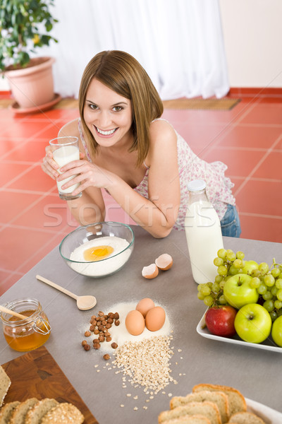 Baking - Happy woman prepare healthy ingredients  Stock photo © CandyboxPhoto