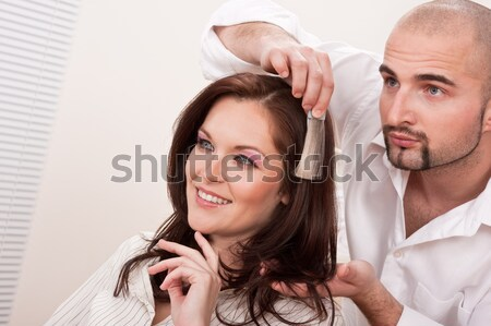 Professional hairdresser with hair dryer at salon with customer Stock photo © CandyboxPhoto