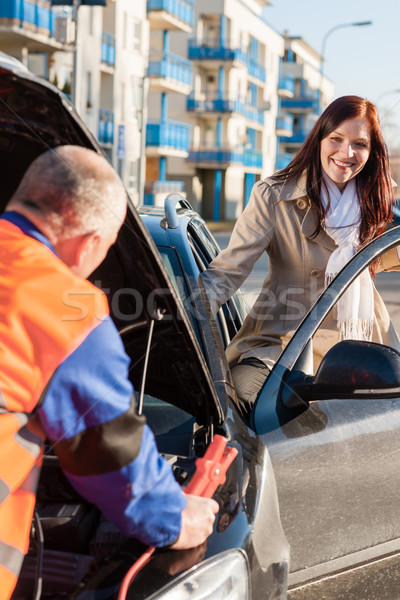 Woman getting into her car mechanic fixing Stock photo © CandyboxPhoto