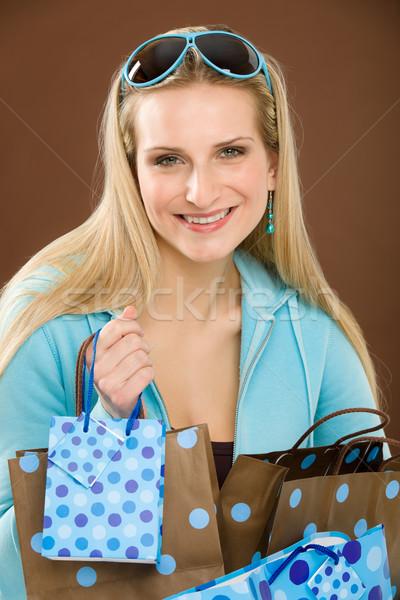 Compras mulher moda feliz saco retrato Foto stock © CandyboxPhoto