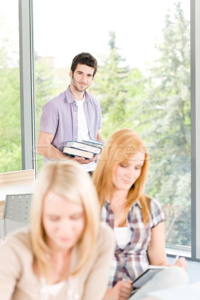 Stock fotó: Csoport · fiatal · középiskola · diákok · tanul · megnyugtató