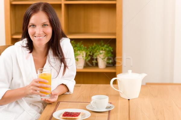 Breakfast home happy woman with orange juice Stock photo © CandyboxPhoto