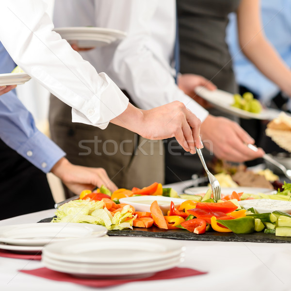 Business catering people take buffet food Stock photo © CandyboxPhoto