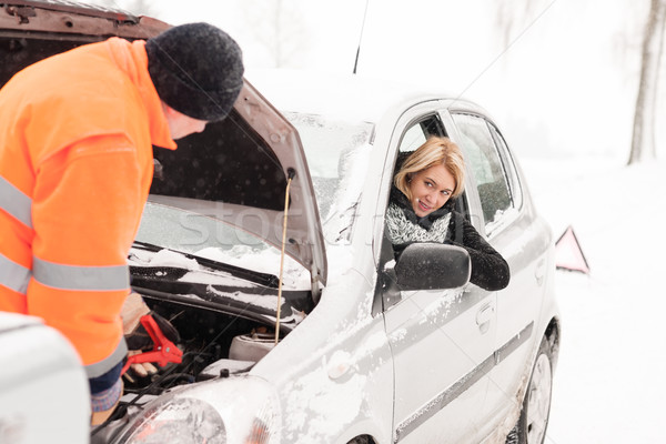 Man repairing woman's car snow assistance winter Stock photo © CandyboxPhoto