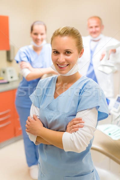 Smiling nurse dental team in stomatology clinic Stock photo © CandyboxPhoto