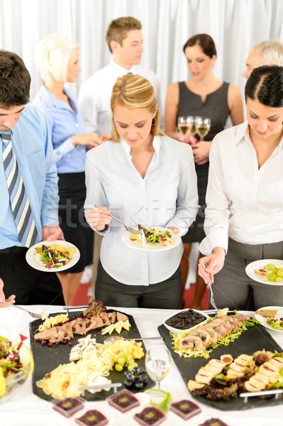 Cég megbeszélés vendéglátás üzletemberek eszik mosolyog Stock fotó © CandyboxPhoto
