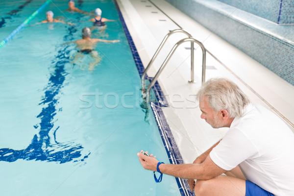 Foto stock: Piscina · treinamento · competição · classe · treinador