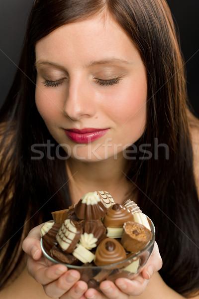 ストックフォト: チョコレート · 肖像 · 小さな · 健康 · 女性 · 楽しむ