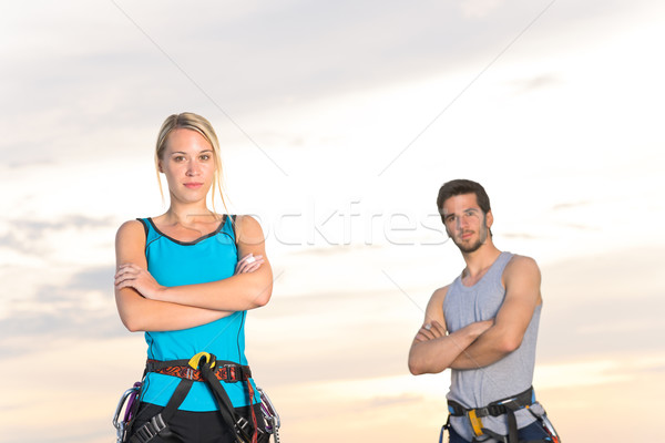 Rock climbing active couple on top sunset Stock photo © CandyboxPhoto