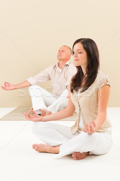 Casual business yoga woman meditating colleague Stock photo © CandyboxPhoto