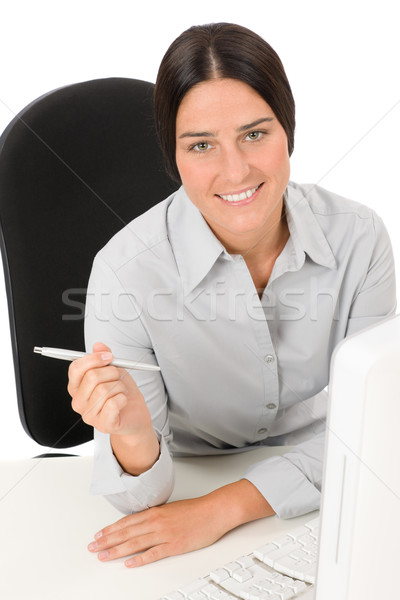 Successful business woman at office hold pen Stock photo © CandyboxPhoto