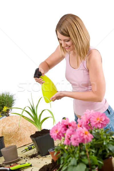 Gardening - woman sprinkling water to plant Stock photo © CandyboxPhoto