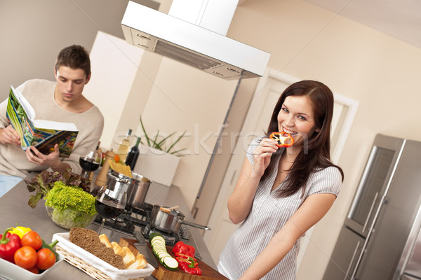 Young couple cooking in modern kitchen Stock photo © CandyboxPhoto