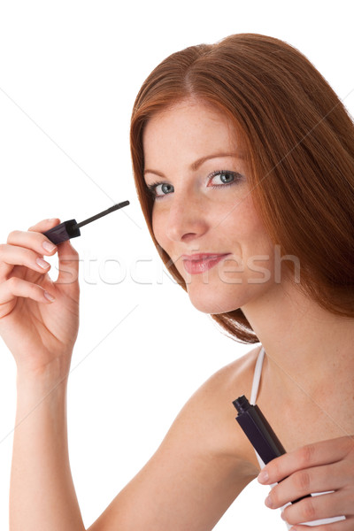 Body care series - Smiling red hair woman applying mascara Stock photo © CandyboxPhoto