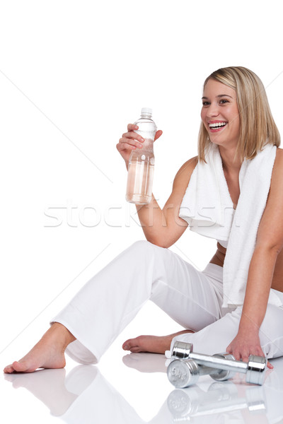 Fitness series - Woman with weights and bottle of water Stock photo © CandyboxPhoto