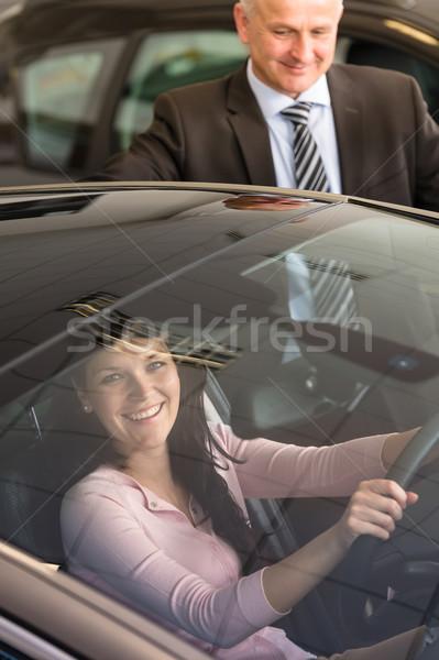 Kafkas kadın test araba showroom genç Stok fotoğraf © CandyboxPhoto