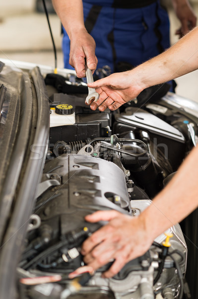 Car mechanic passing a wrench to colleague Stock photo © CandyboxPhoto