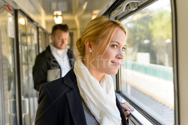 Woman in train looking pensive on window Stock photo © CandyboxPhoto