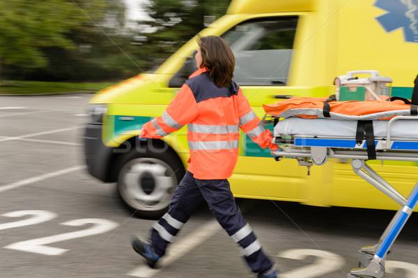 Homályos mentők húz mentő autó sietség Stock fotó © CandyboxPhoto