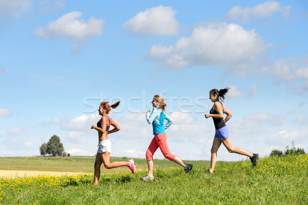 Female friends running downhill sunny meadow Stock photo © CandyboxPhoto
