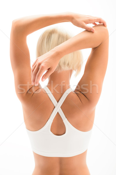 Woman stretching arms yoga workout sport back Stock photo © CandyboxPhoto
