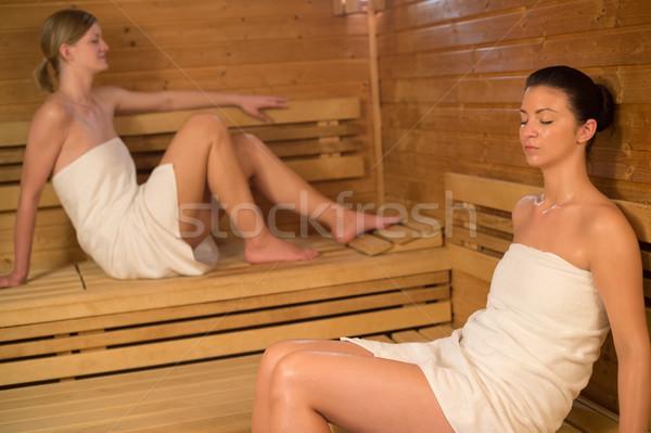 Iki kadın rahatlatıcı sauna iki Stok fotoğraf © CandyboxPhoto