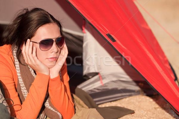 Kempingezés boldog nő sátor egyedül megnyugtató Stock fotó © CandyboxPhoto