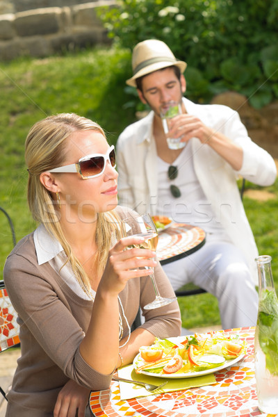 Terras zonnige restaurant Italiaans dining Stockfoto © CandyboxPhoto
