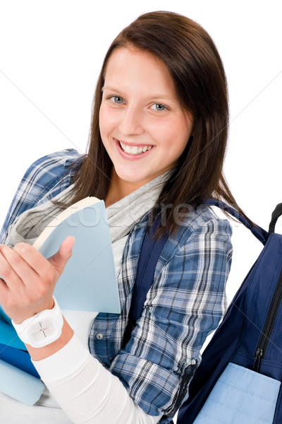 Student teenager girl with schoolbag read books Stock photo © CandyboxPhoto