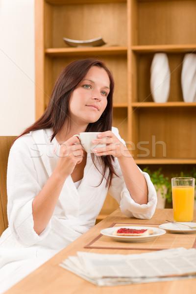 ストックフォト: 朝食 · ホーム · 夢のような · 女性 · コーヒー · トースト