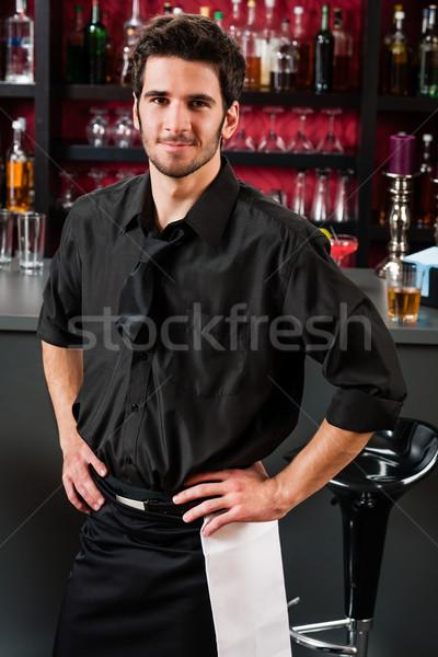 プロ バーテンダー 黒 立って バー 肖像 ストックフォト © CandyboxPhoto