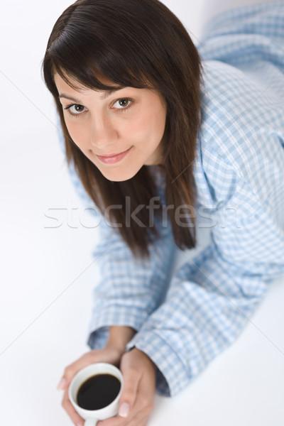 Gelukkig jonge vrouw koffie pyjama witte vrouw Stockfoto © CandyboxPhoto