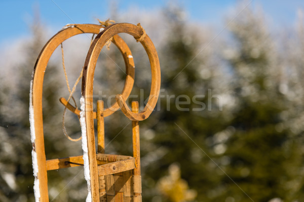 Close-up of wooden sledge standing snow winter Stock photo © CandyboxPhoto