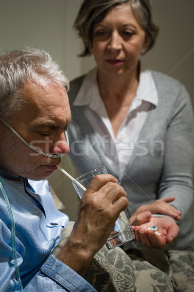 Gondoskodó idős feleség tart drogok férj Stock fotó © CandyboxPhoto