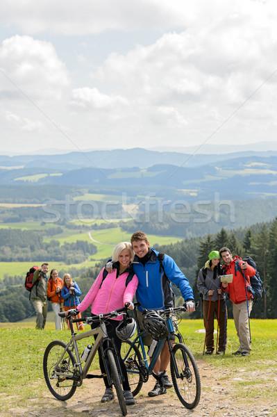 Poz bisikletçi çift dağ Motosiklet üst Stok fotoğraf © CandyboxPhoto