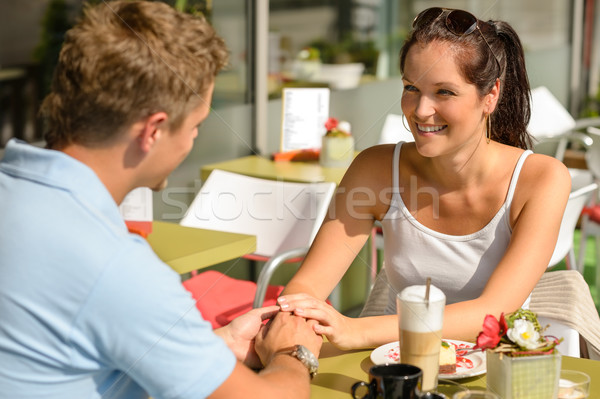 Couple flirting holding hands at cafe bar Stock photo © CandyboxPhoto