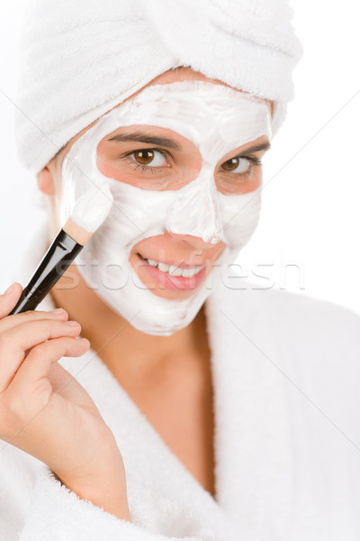 Teenager problem skin care - woman facial mask Stock photo © CandyboxPhoto