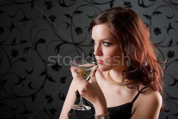 Koktélparti nő estélyi ruha élvezi ital fekete Stock fotó © CandyboxPhoto