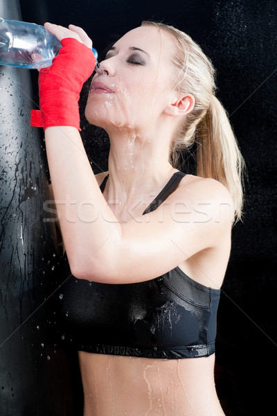 Boxing training woman pour water on her face Stock photo © CandyboxPhoto