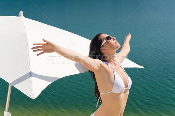 Verano mujer hermosa blanco bikini sujetador retrato Foto stock © CandyboxPhoto