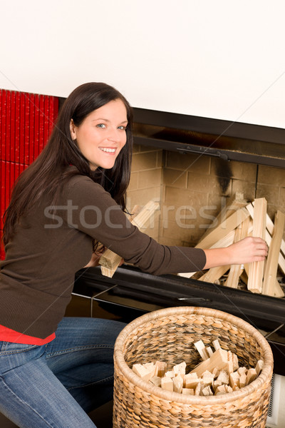 Otthon kandalló nő boldog tél fiatal nő Stock fotó © CandyboxPhoto